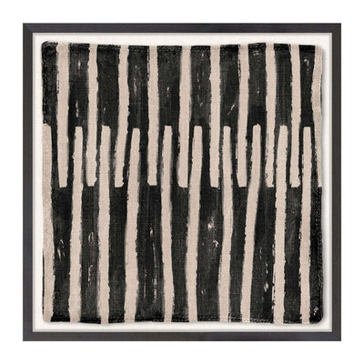 The Woven Tribe Medley I is a contemporary mud painting in an Ivory Coast style with a graphic, line based pattern in neutral tones.