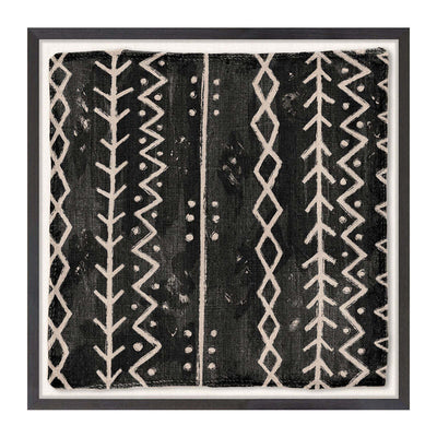 The Woven Tribe Medley V is an Ivory Coast style contemporary mud painting with a neutral, abstract tribal pattern.
