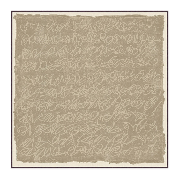 Interesting abstract art featuring a taupe background and scribbles.