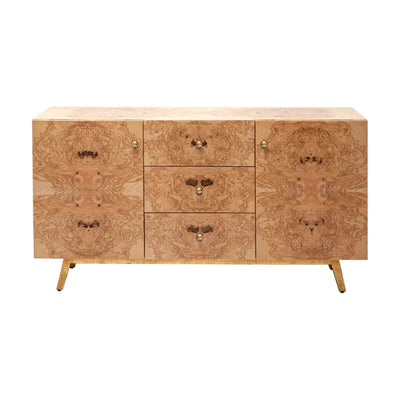 The Zermatt Sideboard with a simple shape, burl wood finish, and angled leg details.