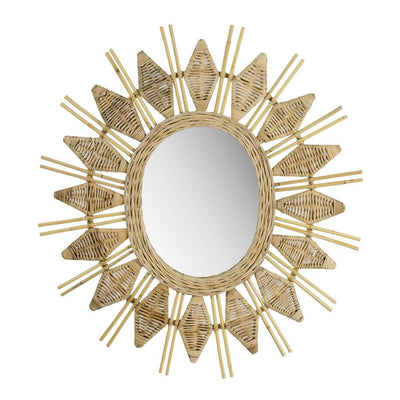 The Lanai Mirror is a rattan, sunburst mirror with a bohemian look.