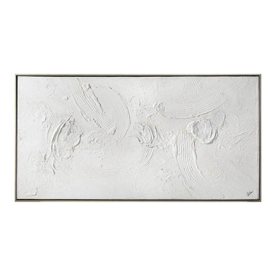 Yanno is a white, textural painting with a thin silver frame.