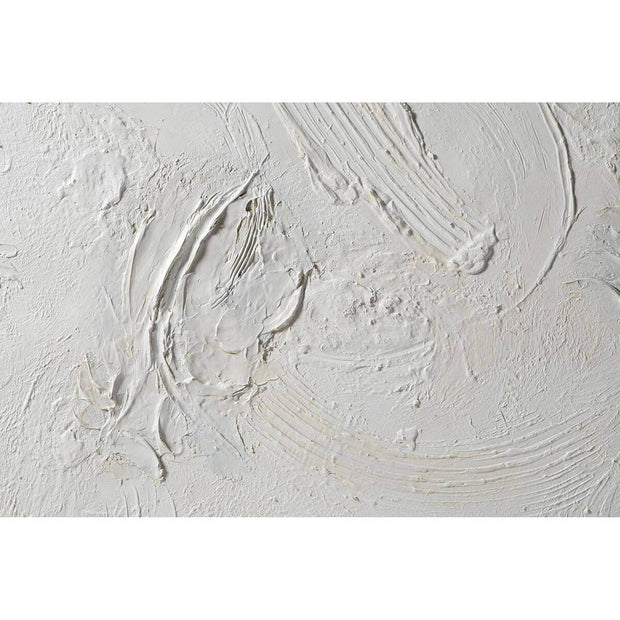 Textured detail on the white abstract artwork.