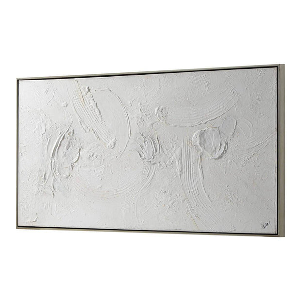 White, textured abstract artwork with a matte finish and thin, silver frame.