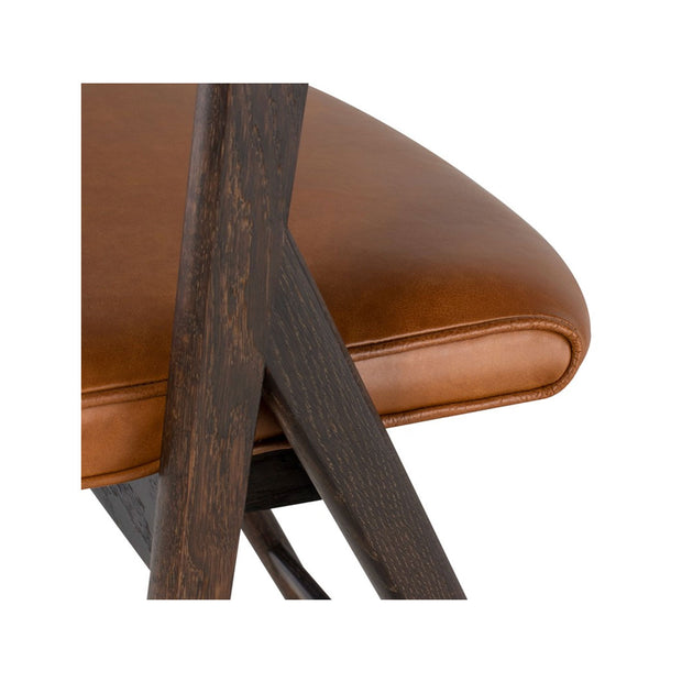 Cognac colour leather counter stool with curved back. Modern sleek design. Comfortable seared oak frame.