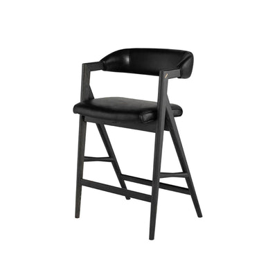 Black leather counter stool with curved back. Modern sleek design. Comfortable oak frame.