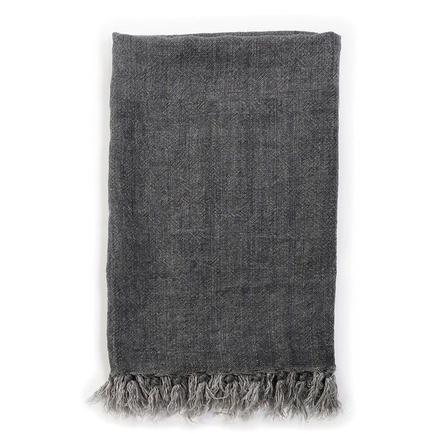 The Hamptons Throw - Charcoal is a charcoal, organic linen throw with a fringe edge.
