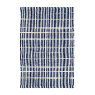 Navy Indoor / Outdoor Rug. Striped blue and white rug made out of recycled plastic bottles.