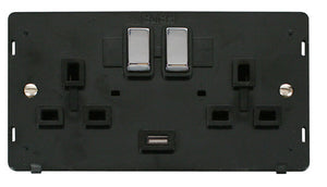 Click Definity - 2 Gang Switched Socket USB