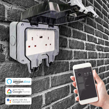 Load image into Gallery viewer, Smart WiFi Weatherproof Double Socket With USB