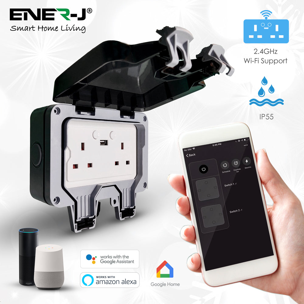 Smart WiFi Weatherproof Double Socket With USB