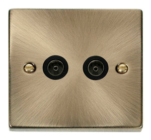 Deco Antique Brass - Twin Satellite Socket