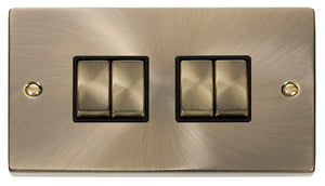 Deco Antique Brass - 4 Gang Switch BK insert