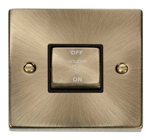 Deco Antique Brass - Fan Isolator Switch BK insert
