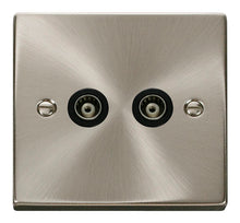 Load image into Gallery viewer, Deco Satin Chrome - Twin Satellite Socket