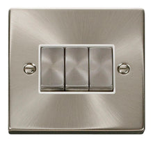 Load image into Gallery viewer, Deco Satin Chrome - 3 Gang Switch