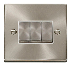 Deco Satin Chrome - 3 Gang Switch