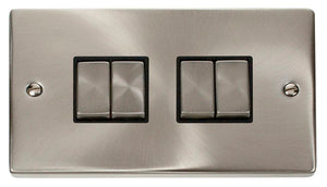 Deco Satin Chrome - 4 Gang Switch