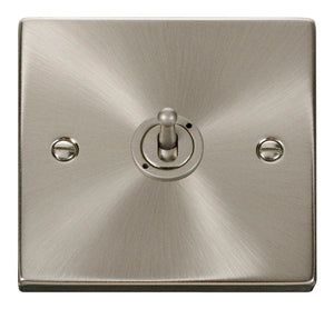 Deco Satin Chrome - 1 Gang Toggle Switch