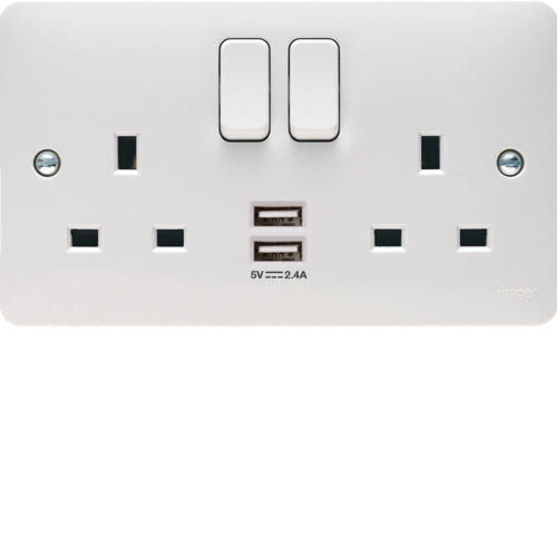 Hager - 2 Gang Switched Socket USB