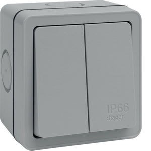 Hager - Outdoor 2 Gang Switch IP66