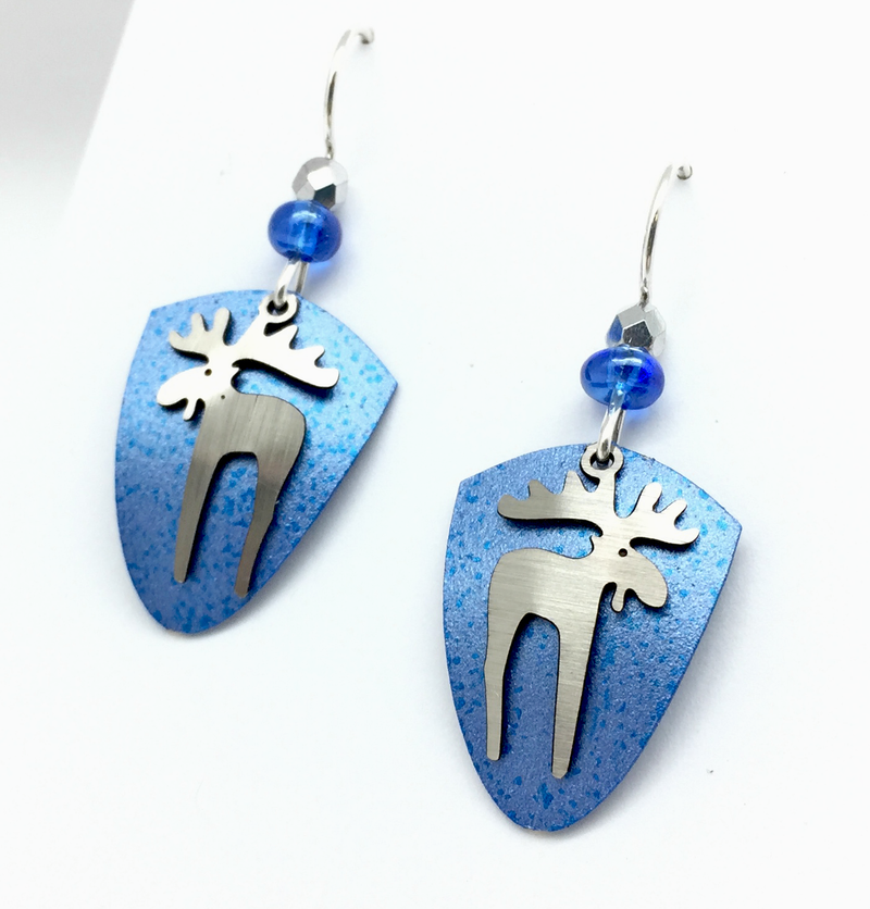 Blue Shield Moose with Bead Dangle Earring