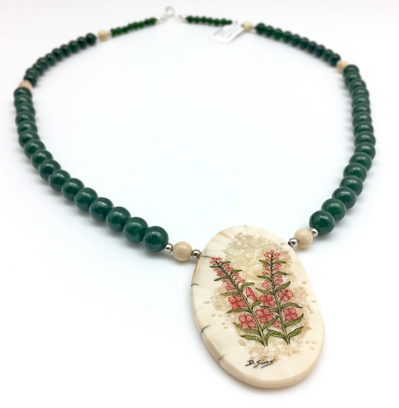 Ivory & Jade Fireweed Scrimshaw Necklace