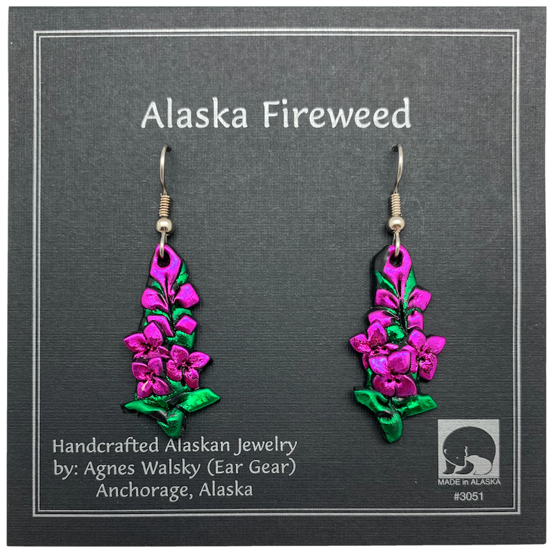 Handcrafted Fireweed Dangle Earrings