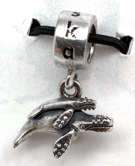 Silver Whales Bead Charm
