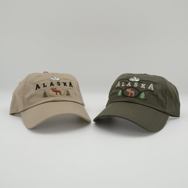 Alaska Moose Mountain Base Ball Hat