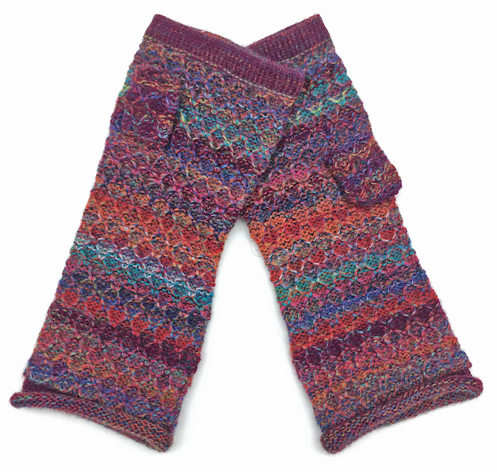 Mosaic Stripe Alpaca Fingerless Gloves