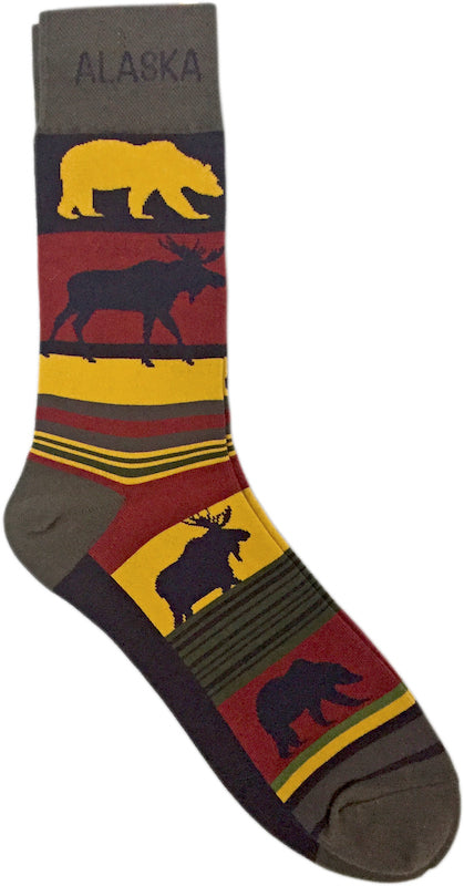Moose & Bear Stripe Men's Socks