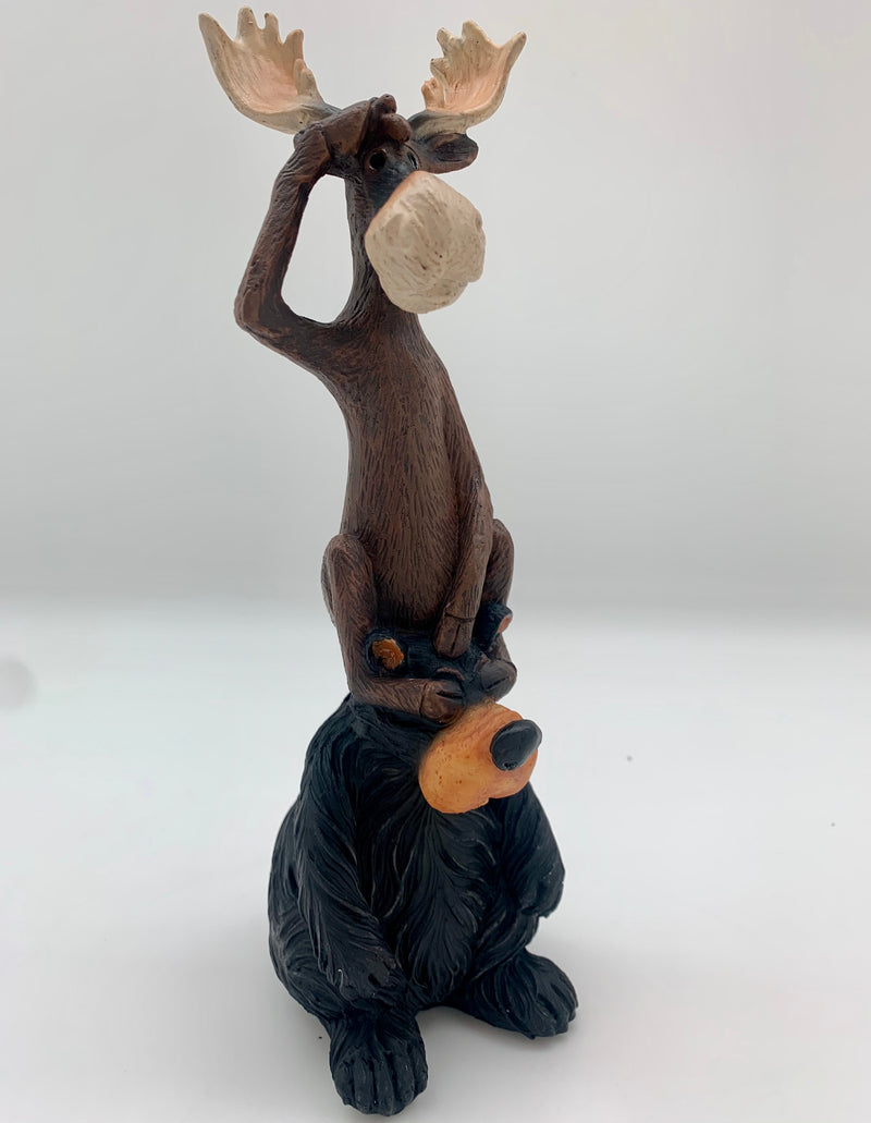 Moose & Bear on the Lookout Figurine