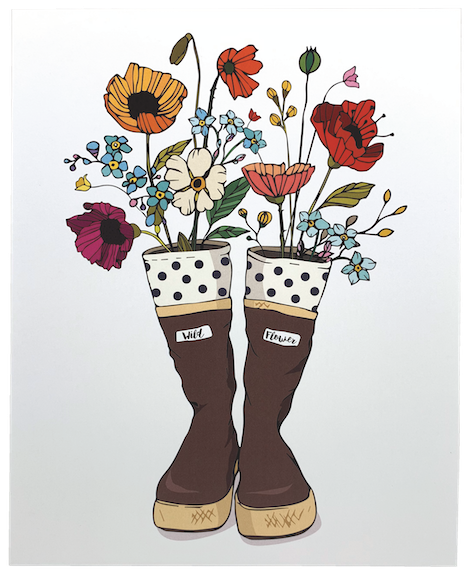 Xtra Tuff Boots with Wildflowers Art Print
