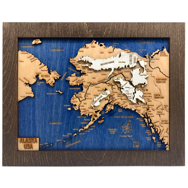 Alaska Laser Cut Wooden Map