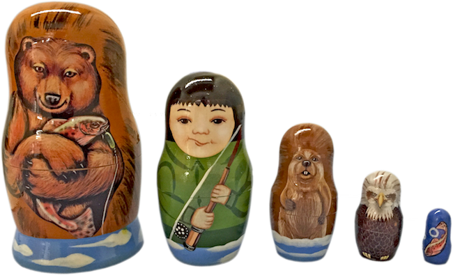 Brown Bear With Fish Nesting Dolls