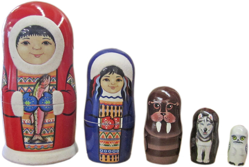 Eskimo With Fish Russian Nesting Doll