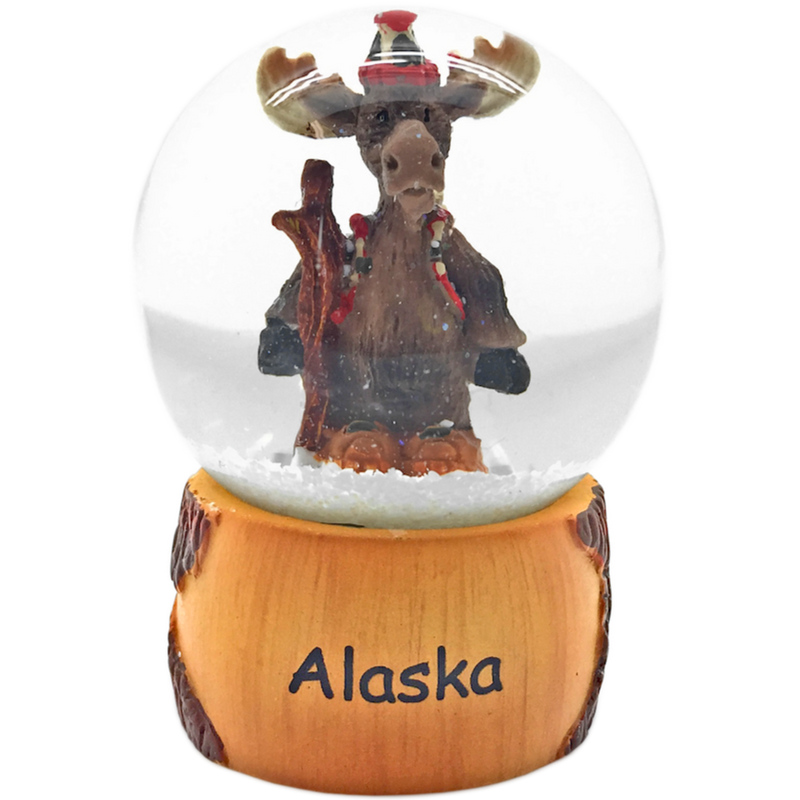 Hiking Moose Mini Alaska Snowglobe