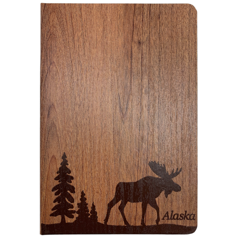 Wood Look Moose Alaska Blank Journal