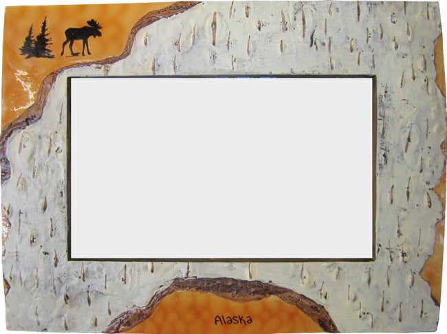 Moose & Tree Alaska Bark Look Photo Frame
