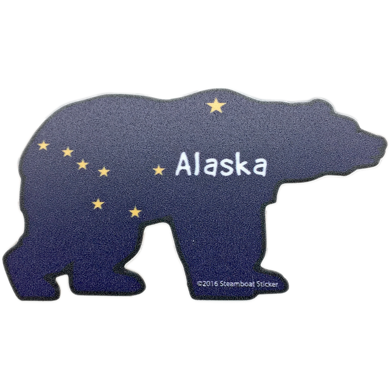Bear Alaska Flag Mini Sticker