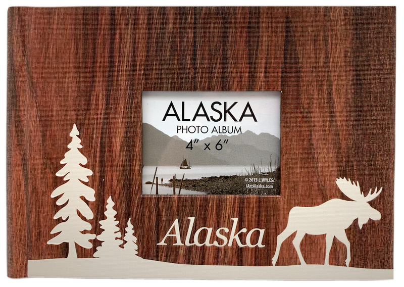 Wood Look Moose & Tree Alaska Photo Album