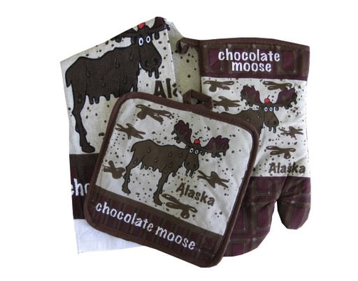 Chocolate Moose Towel, Mitt & Hot Pad Set