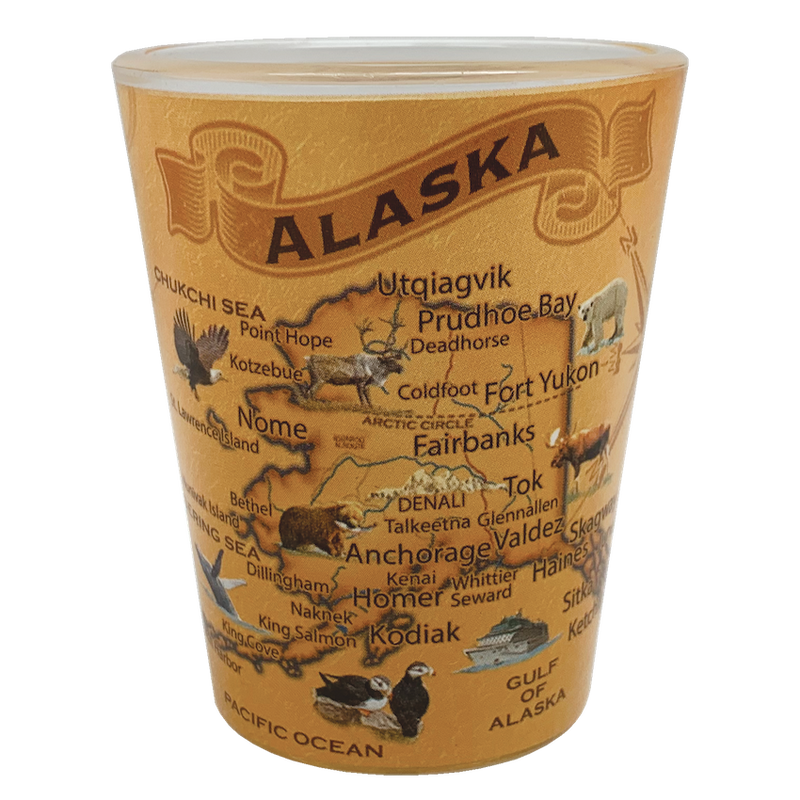 Vintage Alaska Map Shot Glass