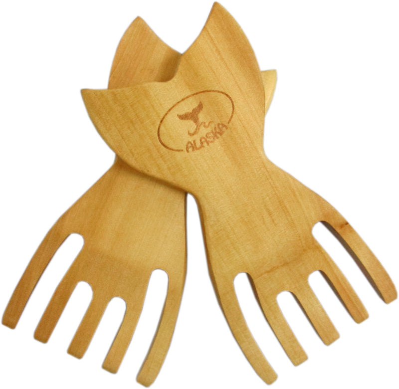 Whale Tail Wood Pasta/Salad Servers