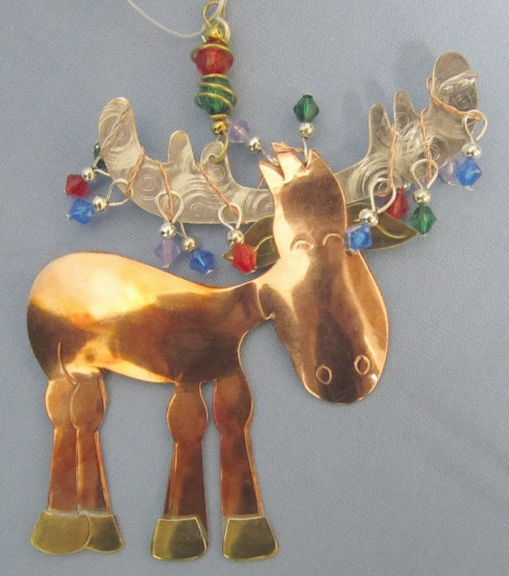 Moose Antler Lights Metal Ornament