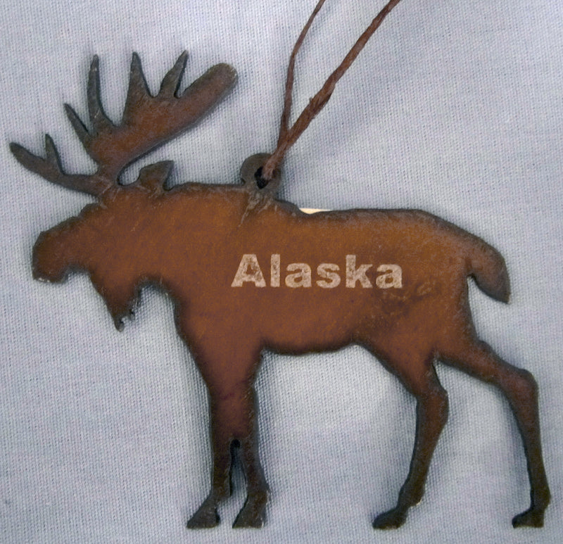 Moose Alaska Metal Ornament