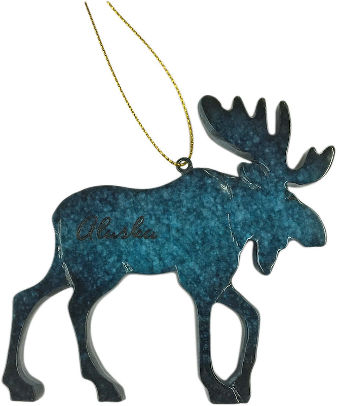 Blue Moose Speckle Ornament