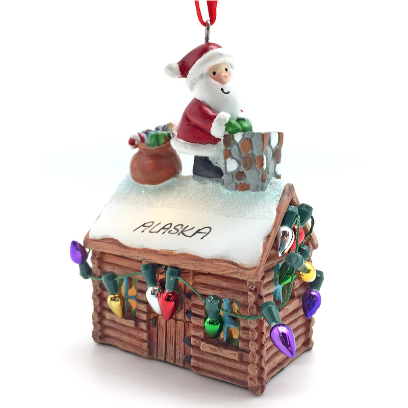 Santa & Log Cabin Alaska Ornament
