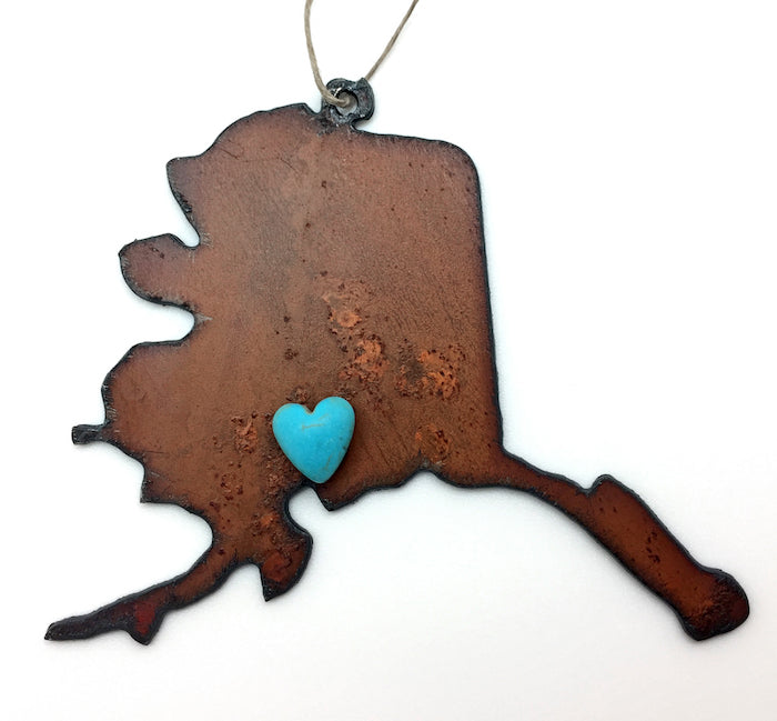 Alaska Map with Heart Ornament